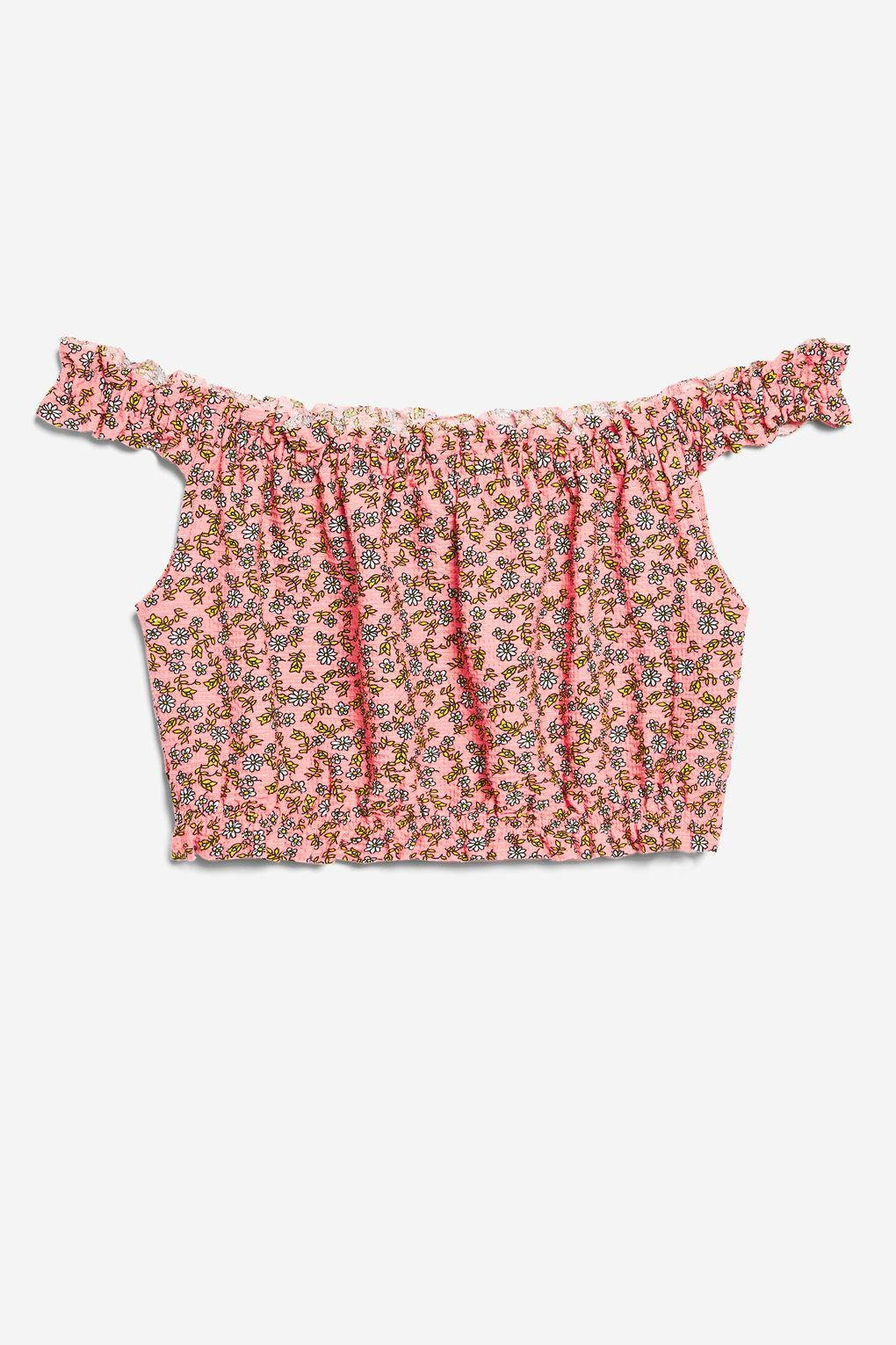 cce9bead3967d8 Lyst - TOPSHOP Strappy Floral Print Bardot Top in Pink