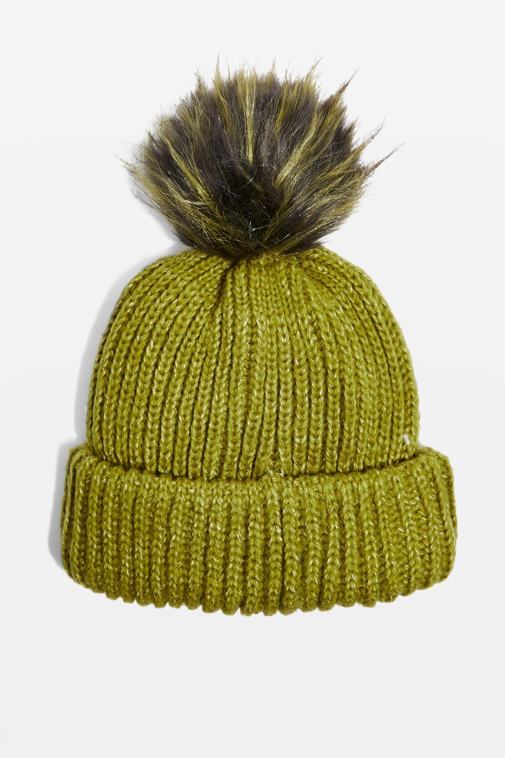 641beea7e95 Lyst - TOPSHOP Knitted Faux Fur Pom Hat in Green