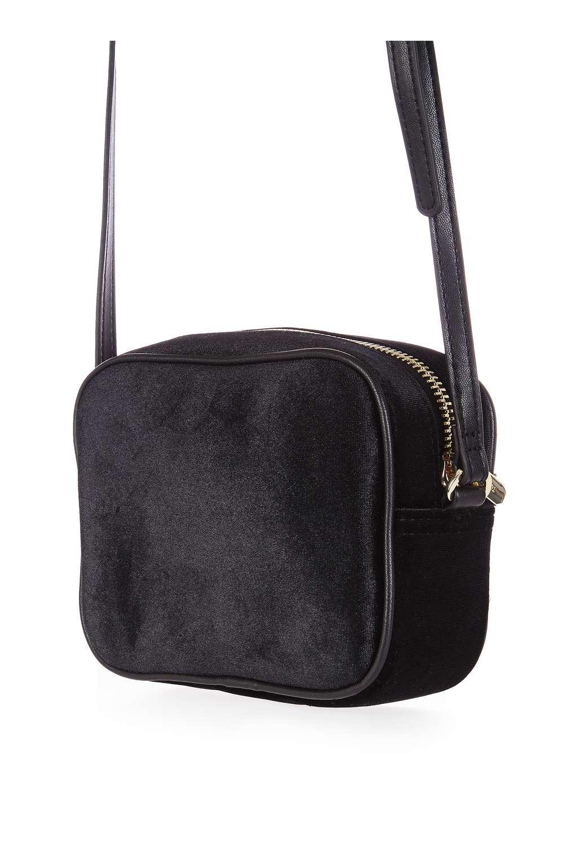Lyst - Topshop Velvet Floral Embroidered Crossbody Bag In Black