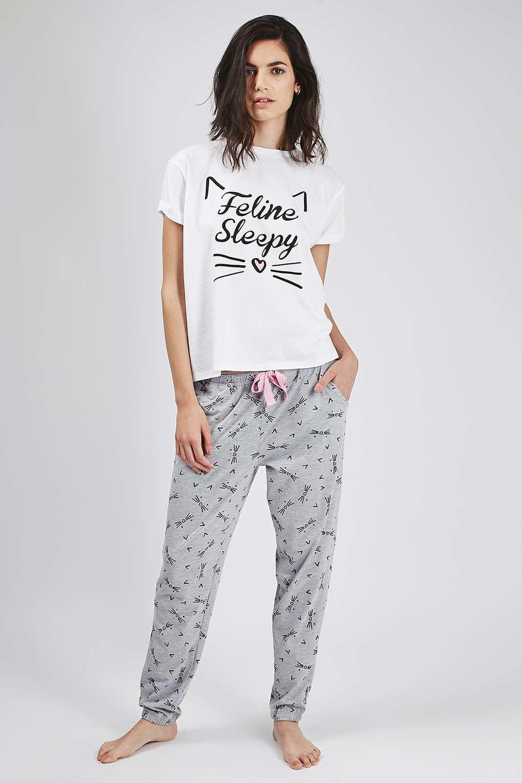 Topshop Petite Feline Sleepy Pyjama Set In Gray Multi Lyst