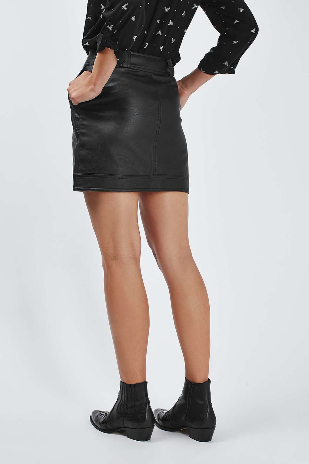 topshop stitch detailed leather look mini skirt in black