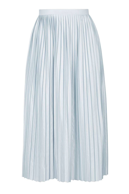 topshop jersey pleat midi skirt in blue pale blue lyst