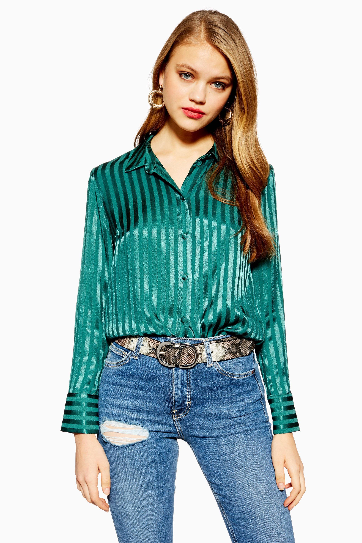 Lyst - TOPSHOP Self-stripe Shirt in Green - Save 31% 1dee45dd4