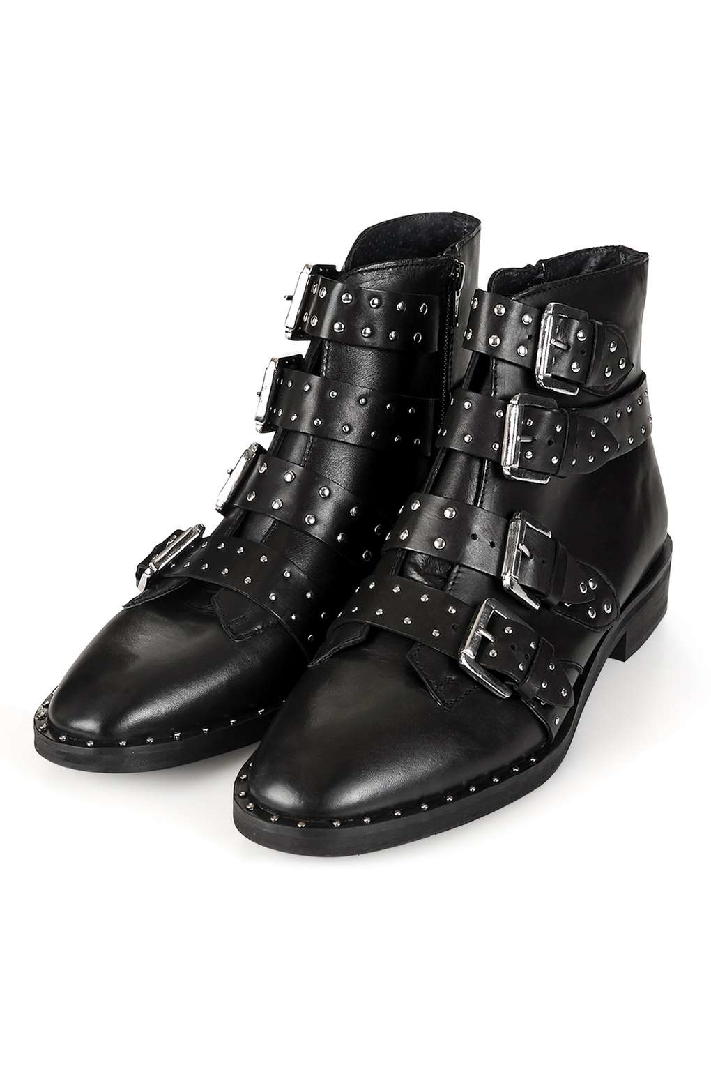 Topshop Leather Amy Studded Buckle Bootie In Black Lyst