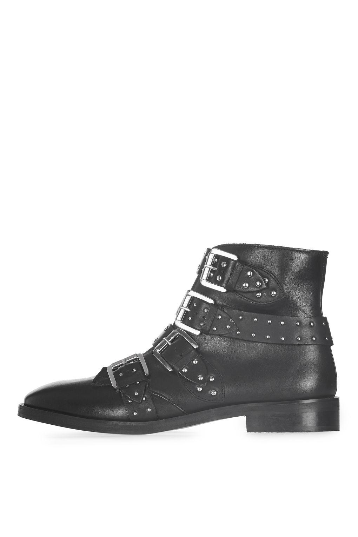 topshop amy2 studded boots in black lyst. Black Bedroom Furniture Sets. Home Design Ideas