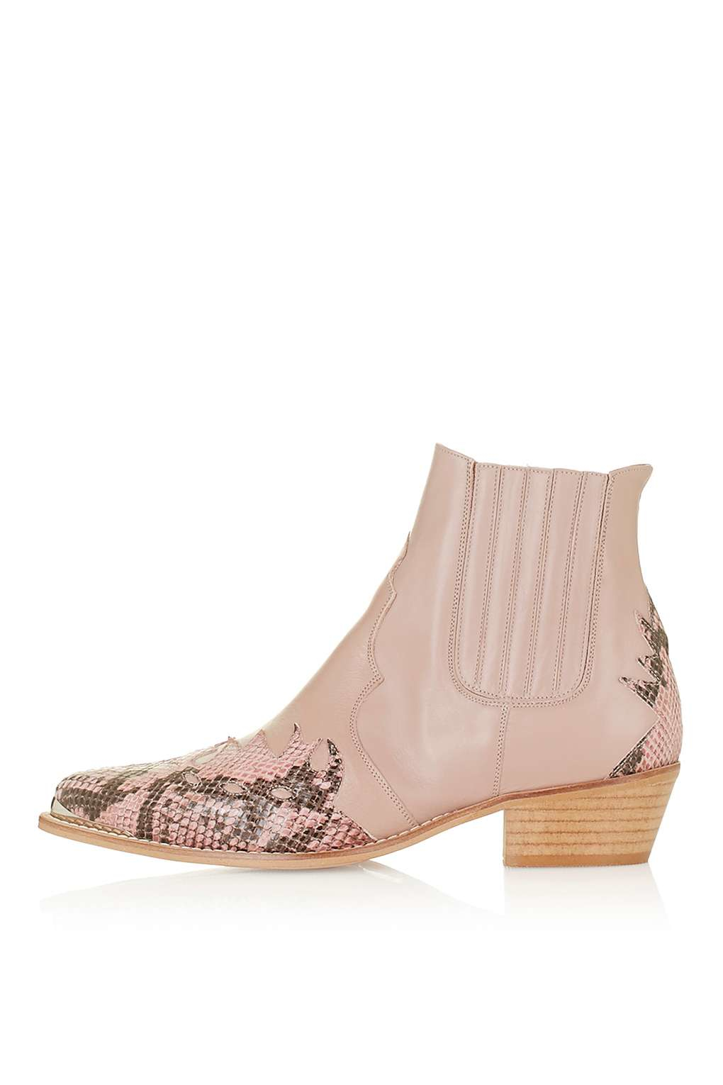 topshop arson western ankle boots in beige lyst
