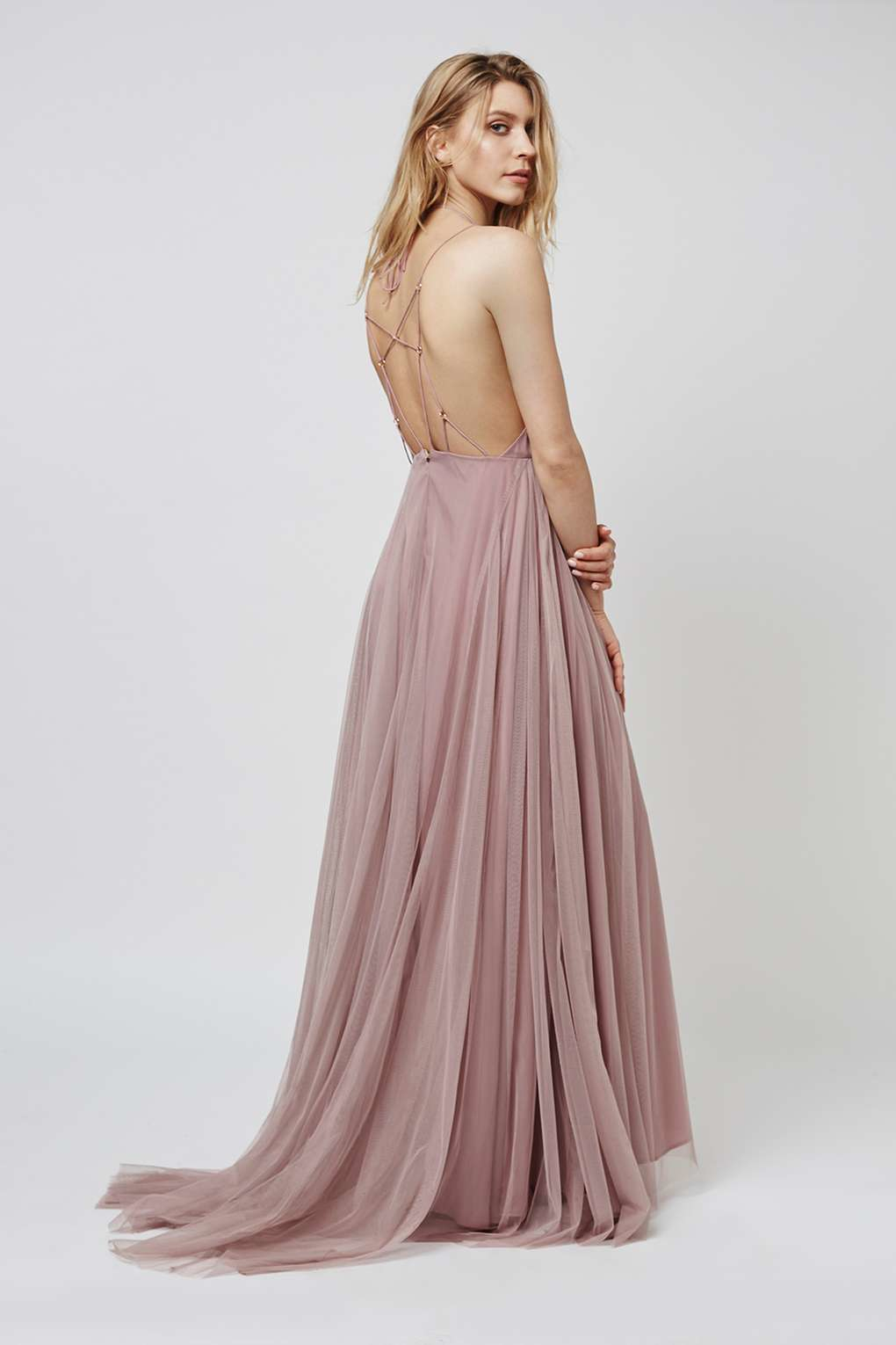8c15f5eacdb TOPSHOP Tulle Lace-up Maxi Dress in Pink - Lyst