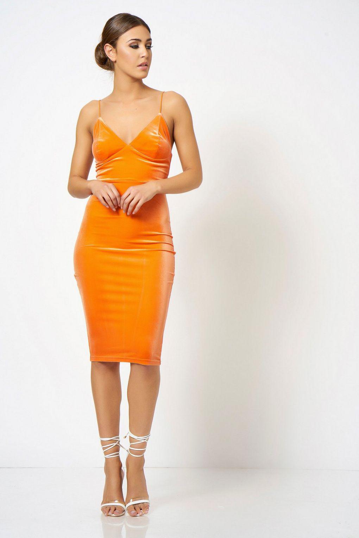80ea84f100f5 Club L Orange Velour Camisole Dress By in Orange - Lyst