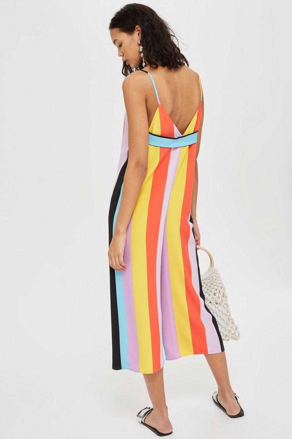 f8a404ced8f TOPSHOP Rainbow Slouch Jumpsuit in Black - Lyst