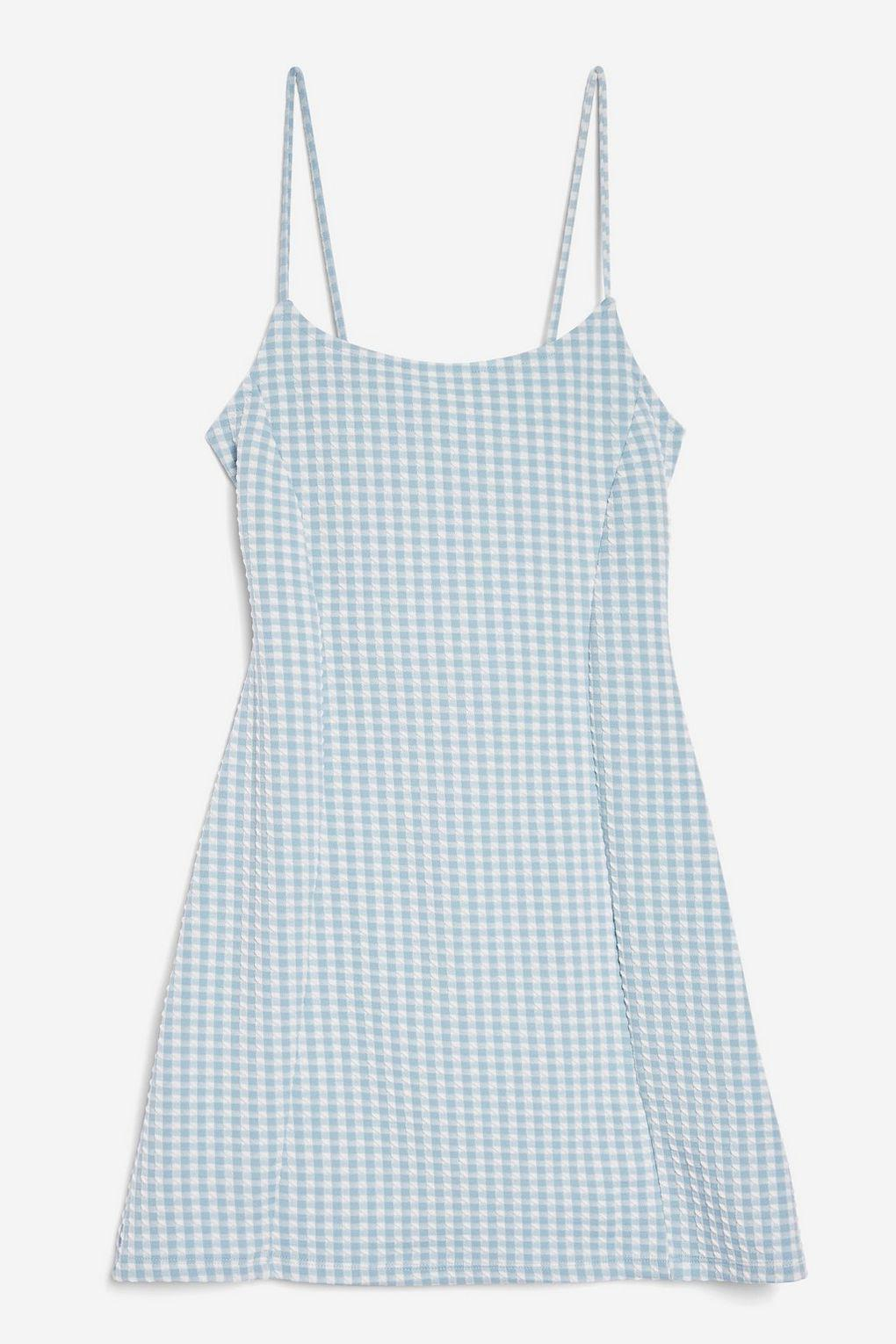 3ae18d6cd73af TOPSHOP Petite Gingham Mini Pinafore Dress in Blue - Lyst