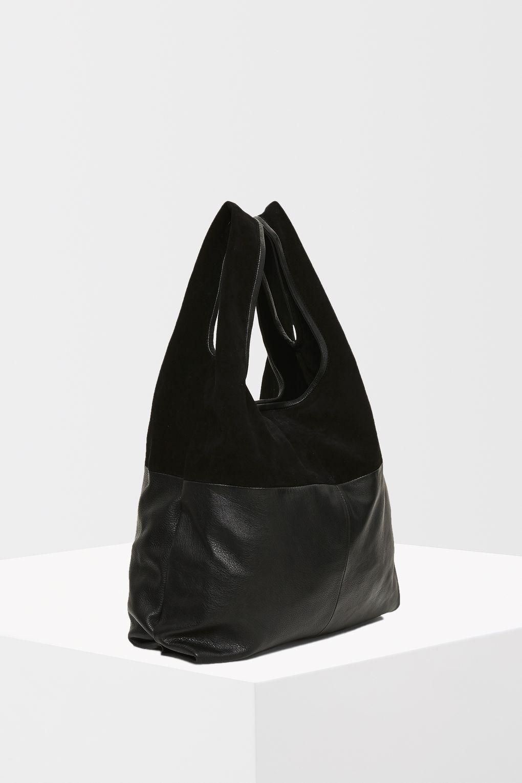 b2631e8d648 Lyst - TOPSHOP Premium Leather Slouch Grab Tote Bag in Black