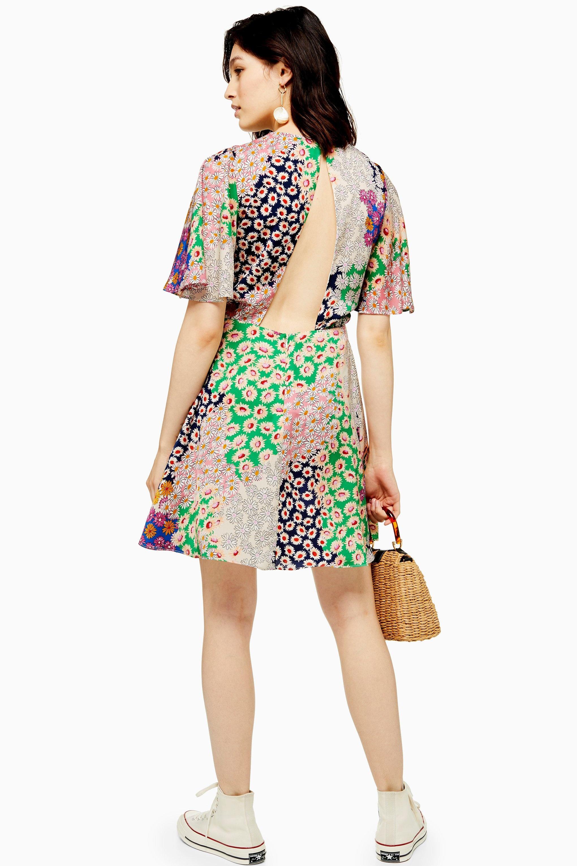 53056adf59 TOPSHOP Tall Austin Floral Print Angel Sleeve Mini Dress - Lyst