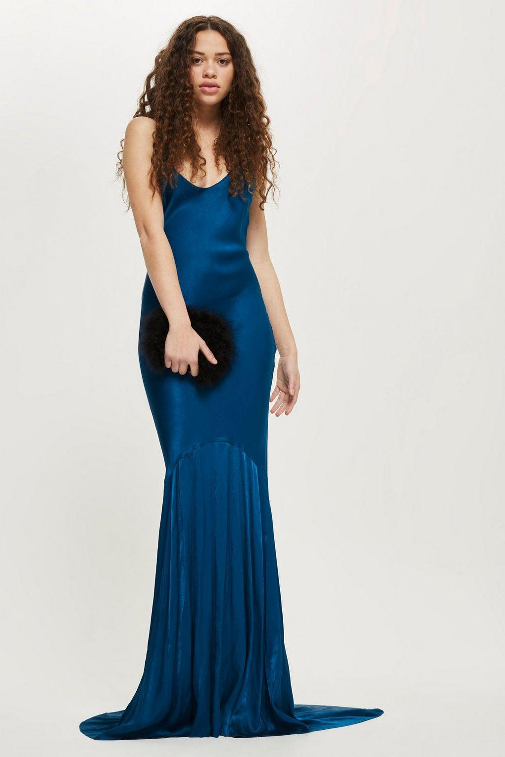 Lyst - Topshop Satin Fishtail Gown in Blue