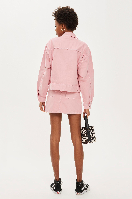 0b9796bdd Lyst - TOPSHOP Sugar Pink Denim Skirt in Pink