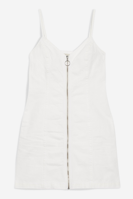 cbad393a6b Lyst - TOPSHOP Zip Through Denim Bodycon Dress in White
