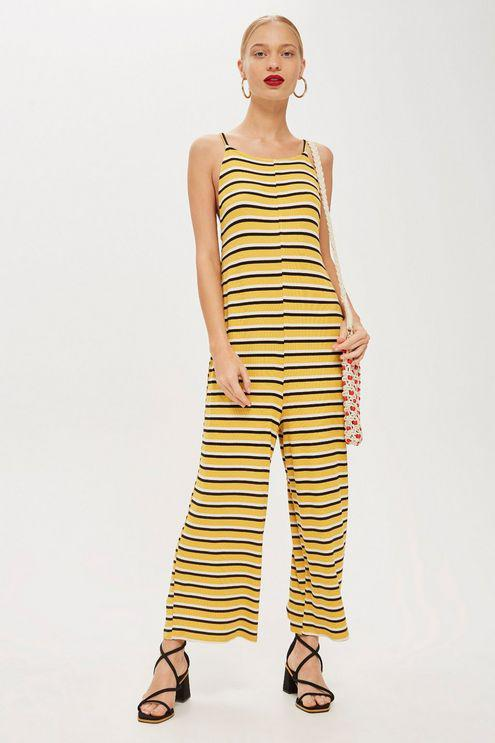 804a3248ece2 Topshop Striped Slouch Jumpsuit in Yellow - Save 25.0% - Lyst