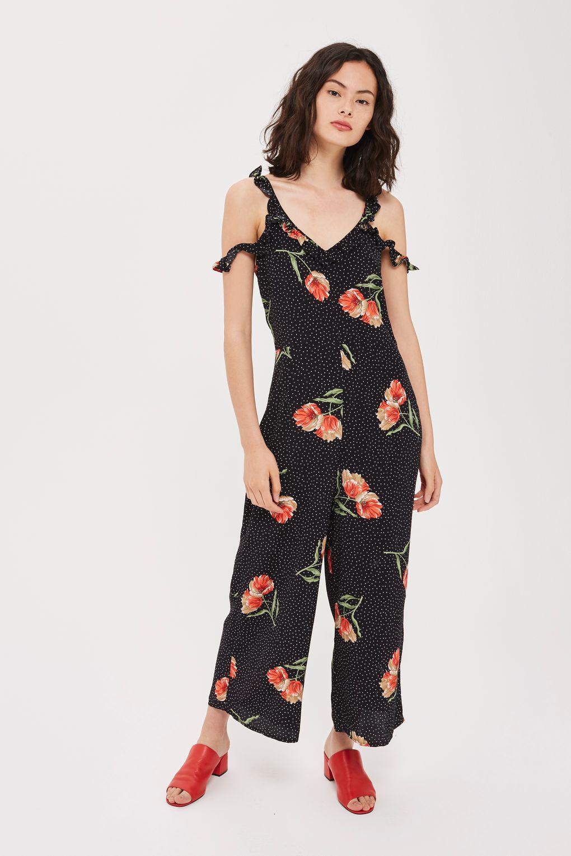 d0c87719303 TOPSHOP Floral Spot Frill Jumpsuit in Black - Lyst