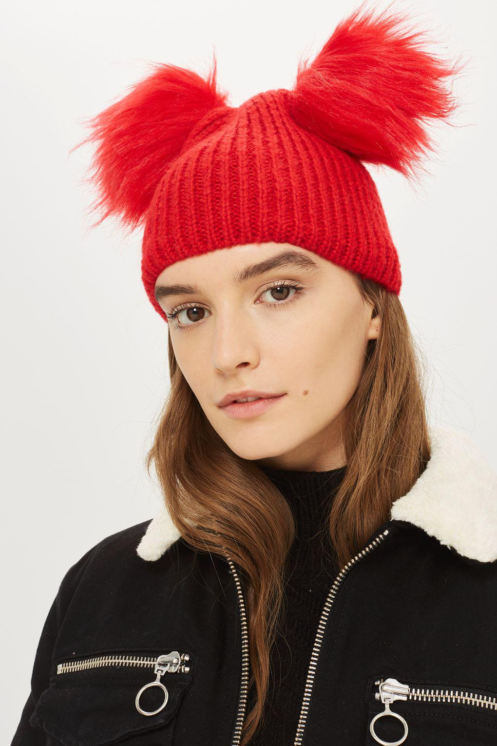 273fa8698f4 TOPSHOP Double Pom Pom Beanie Hat in Red - Lyst