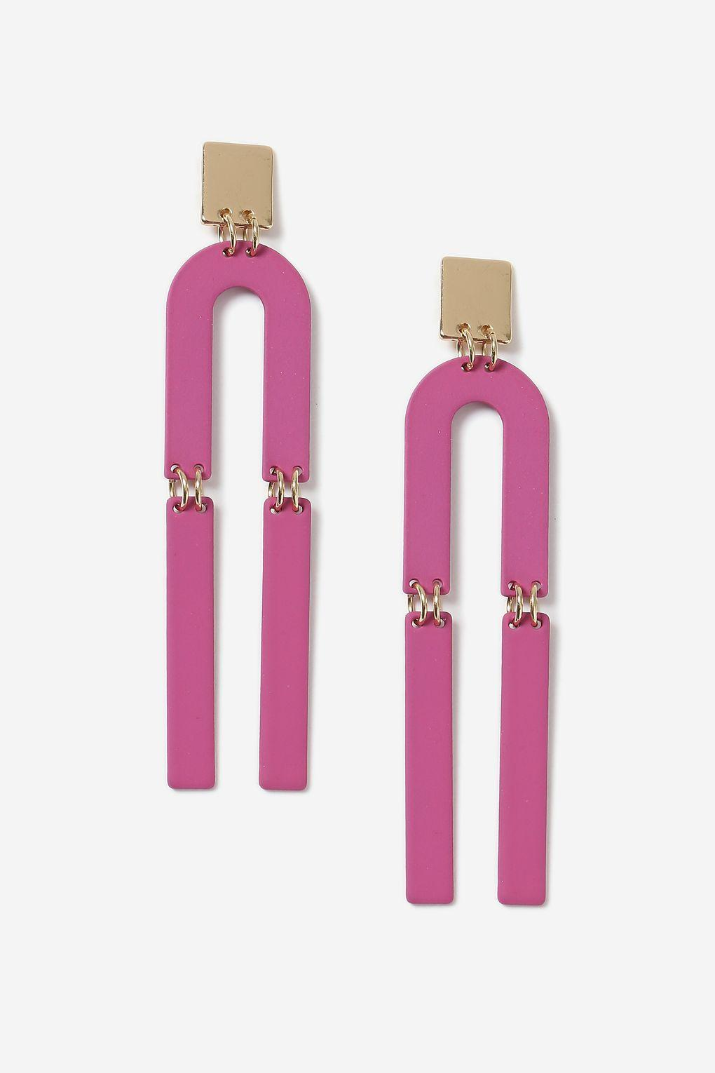 topshop u shape drop earrings in pink lyst. Black Bedroom Furniture Sets. Home Design Ideas