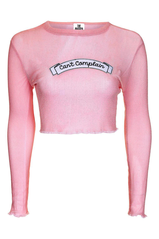 0e1a3e9edbb The Ragged Priest Glitter Mesh Crop Top By Ragged Priest in Pink - Lyst