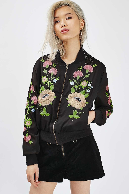 Glamorous floral embroidered crepe bomber jacket in black