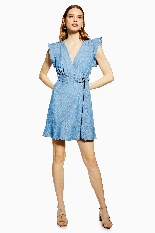 f386491d0cd9 Lyst - TOPSHOP Flute Belted Denim Dress in Blue