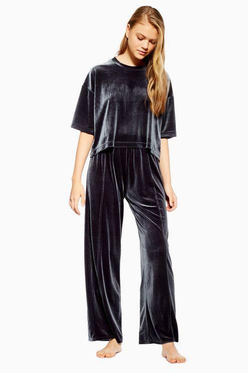 TOPSHOP Velvet Pleated Pyjama Trousers in Blue - Lyst aac176fd5