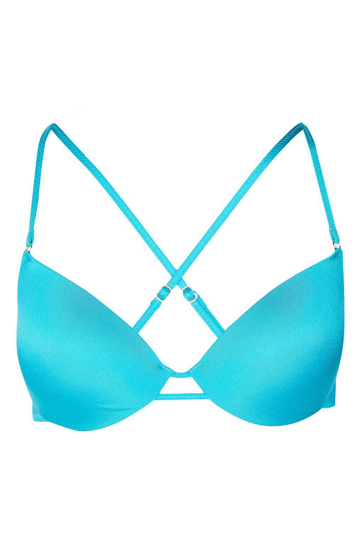 30cf5d16a5 Topshop Shiny Plunge Bikini Top in Blue - Lyst