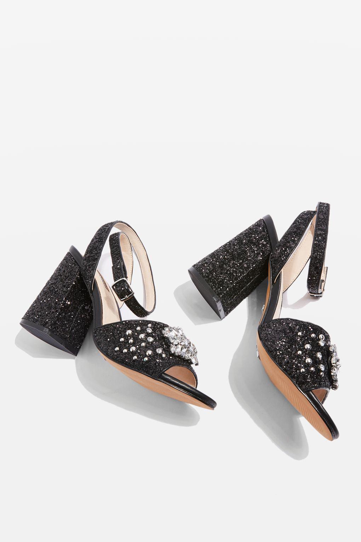 d001daede8 TOPSHOP Razzle Glitter Block Heel Sandals in Black - Lyst