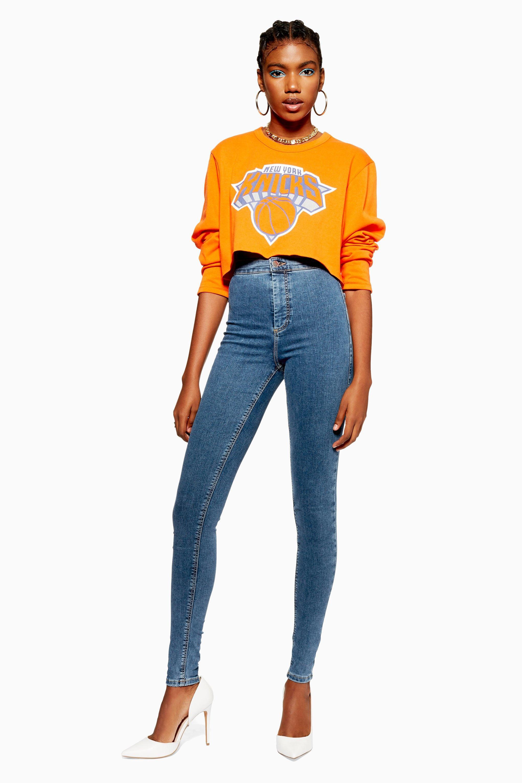 951536ec409 Lyst - TOPSHOP Tall Mid Blue Joni Jeans in Blue