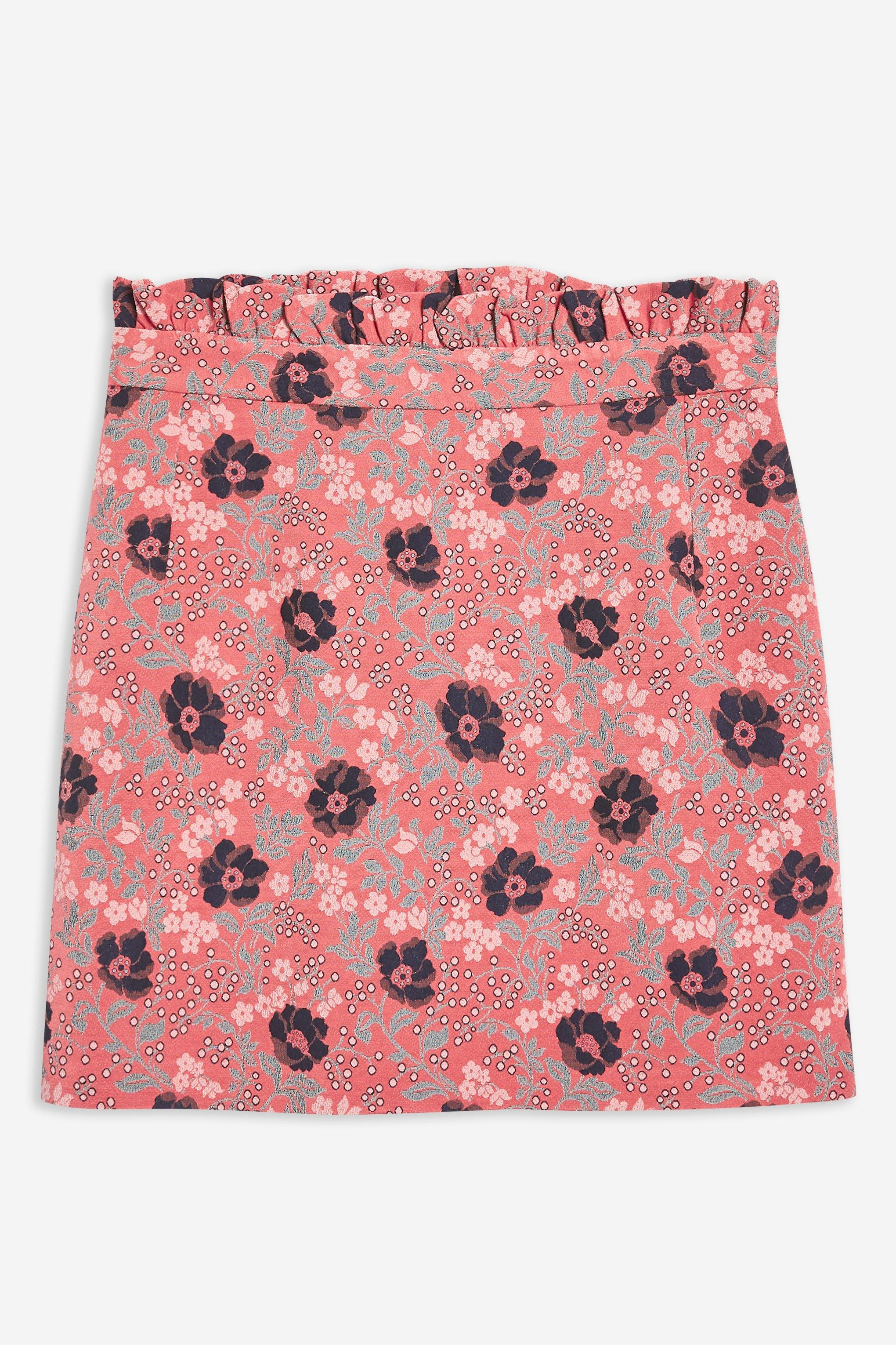 67df7a3bc9ce00 Lyst - TOPSHOP Petite Poppy Jacquard Skirt in Pink - Save 67%