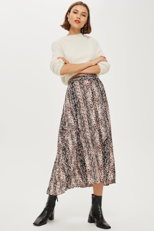 18c6482c1d TOPSHOP Snake Print Pleat Midi Skirt in Gray - Lyst