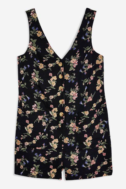 14fa1b83f04a TOPSHOP Floral Linen Blend Romper in Black - Lyst