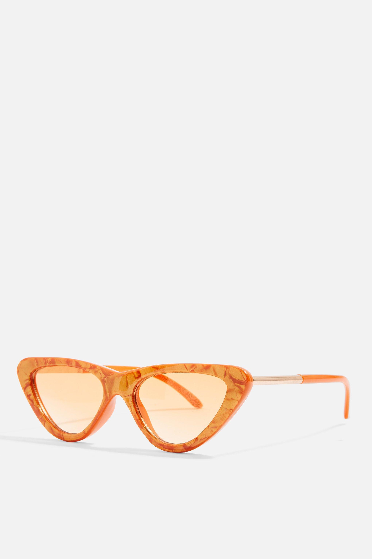 a11133cdaa613 TOPSHOP - Orange Lunettes de soleil œil de chat pointues - Lyst. Afficher  en plein écran