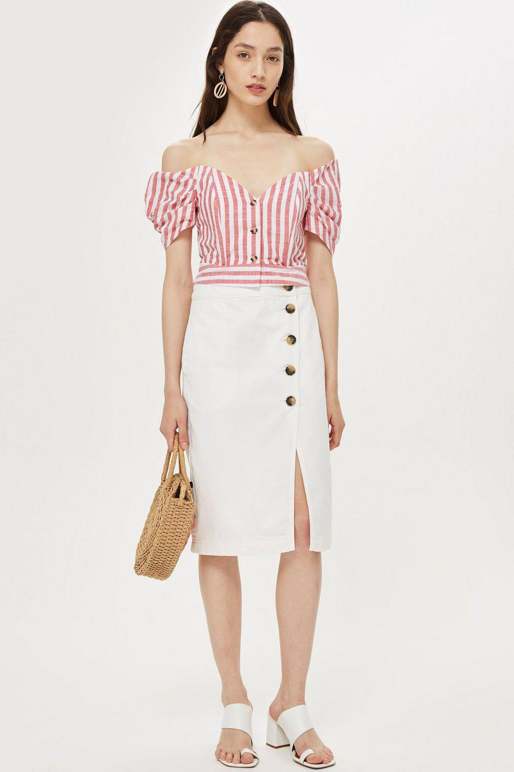 a5c77638a6bc0 Lyst - TOPSHOP Petite Stripe Puff Sleeve Bardot Top in Pink