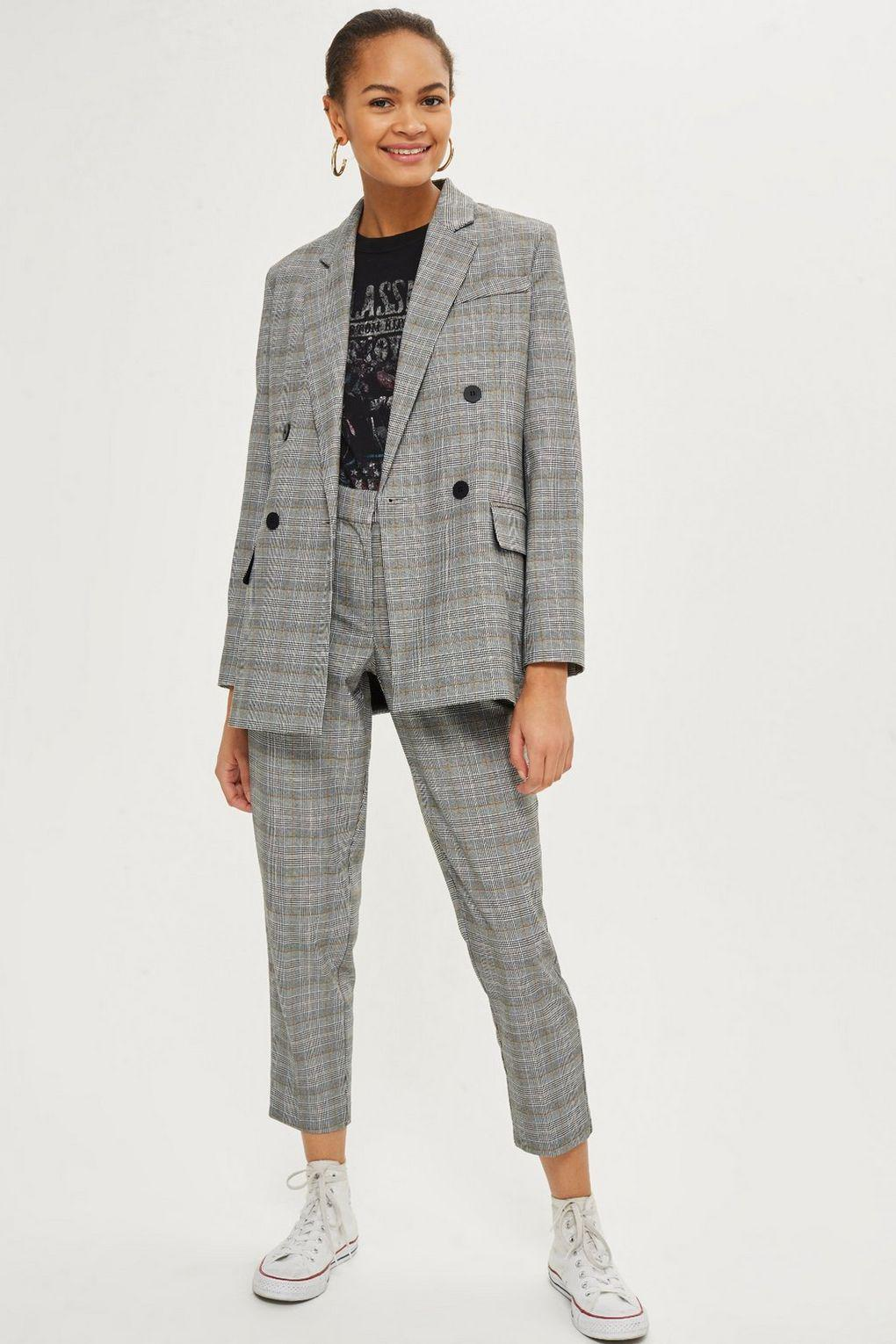 54732e2dcde42 Lyst - TOPSHOP Checked Tapered Leg Trousers in Gray