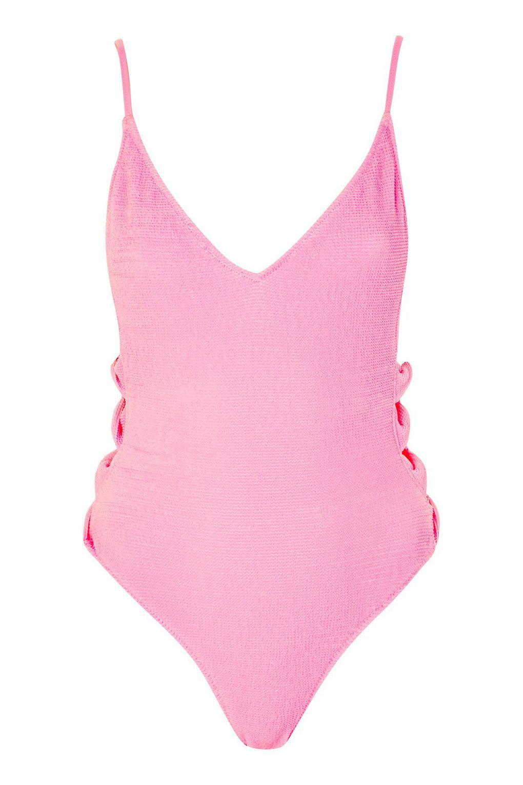 0a67525c04 TOPSHOP Shirred Twist Swimsuit in Pink - Lyst