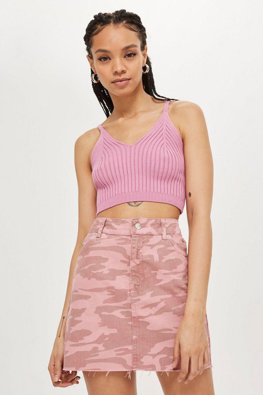 93e98ddbf2 TOPSHOP Pink Camouflage Denim Skirt in Pink - Lyst