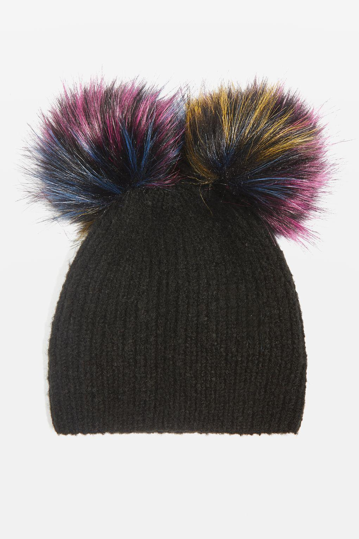 1cb4efccf8c Lyst - TOPSHOP Double Pom Beanie Hat in Black