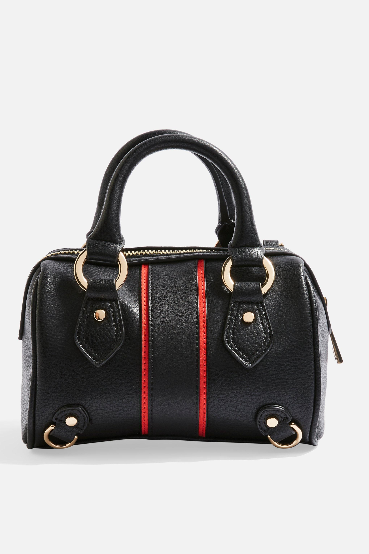 d212fde26c95 TOPSHOP - Black Stripe Mini Bowler Bag - Lyst. View fullscreen