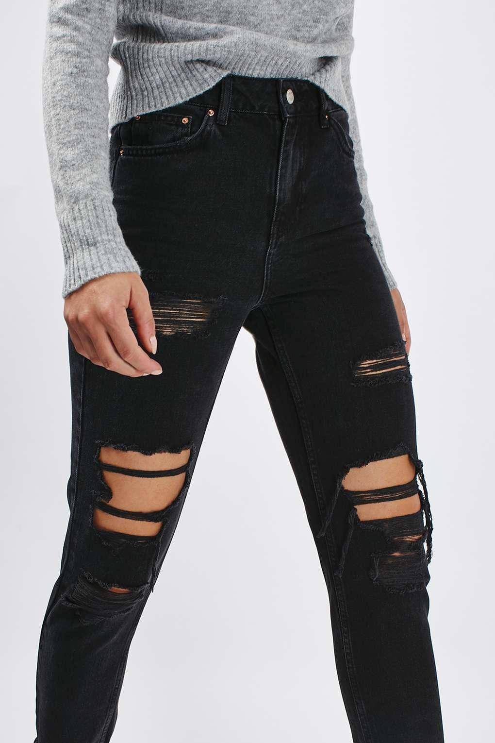5b8ee6fe94a TOPSHOP Moto Washed Black Super Rip Mom Jeans in Black - Lyst