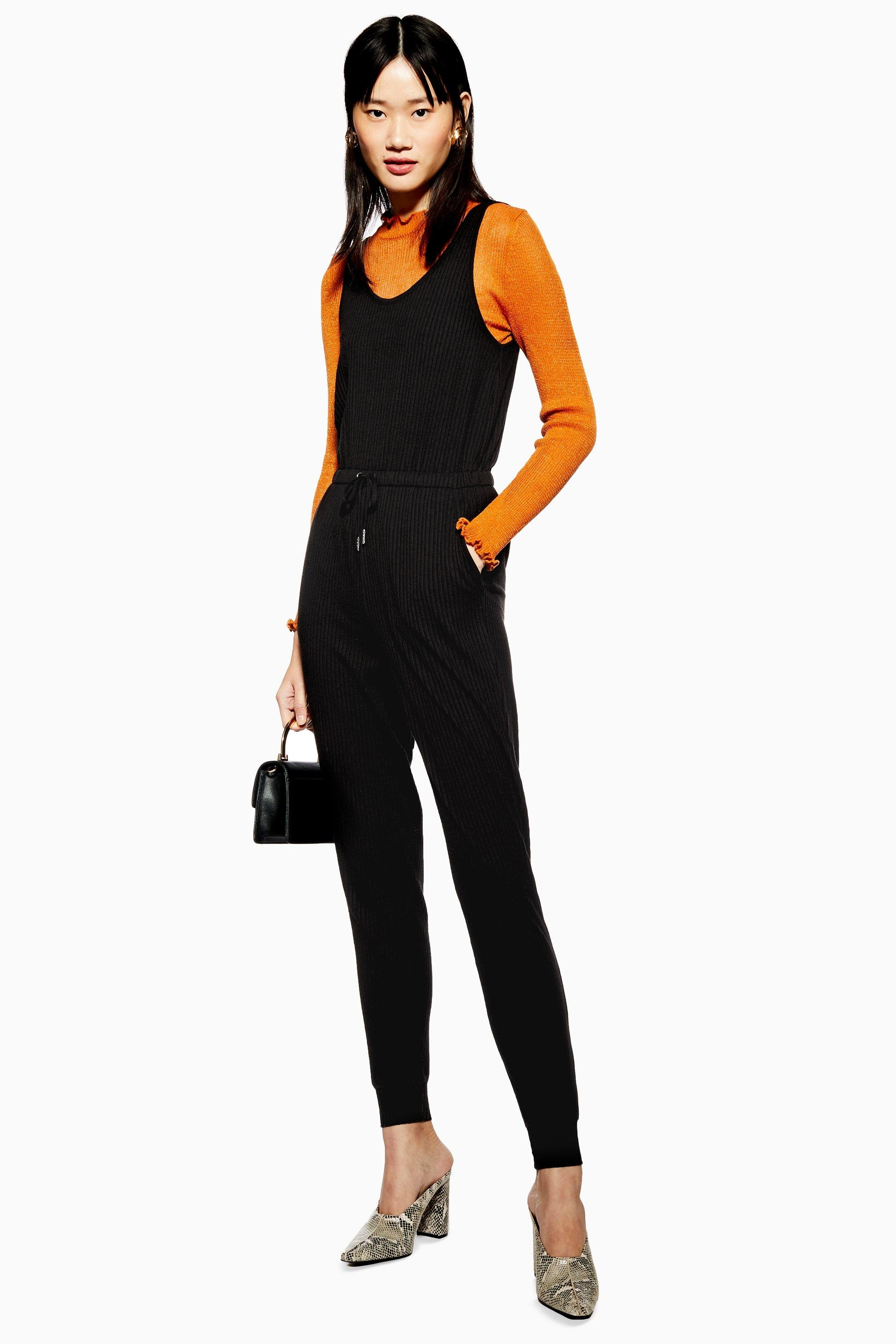 b8b072e289 Lyst - TOPSHOP Ribbed Lounge Jumpsuit in Black