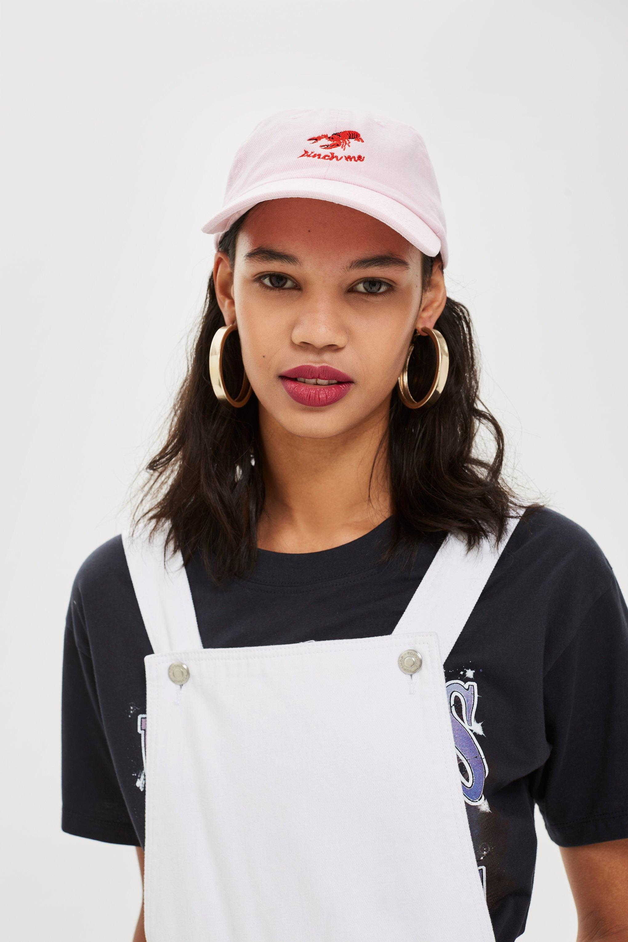 a5dc377eec7 Lyst - Topshop  pinch Me  Lobster Embroidered Cap in Pink