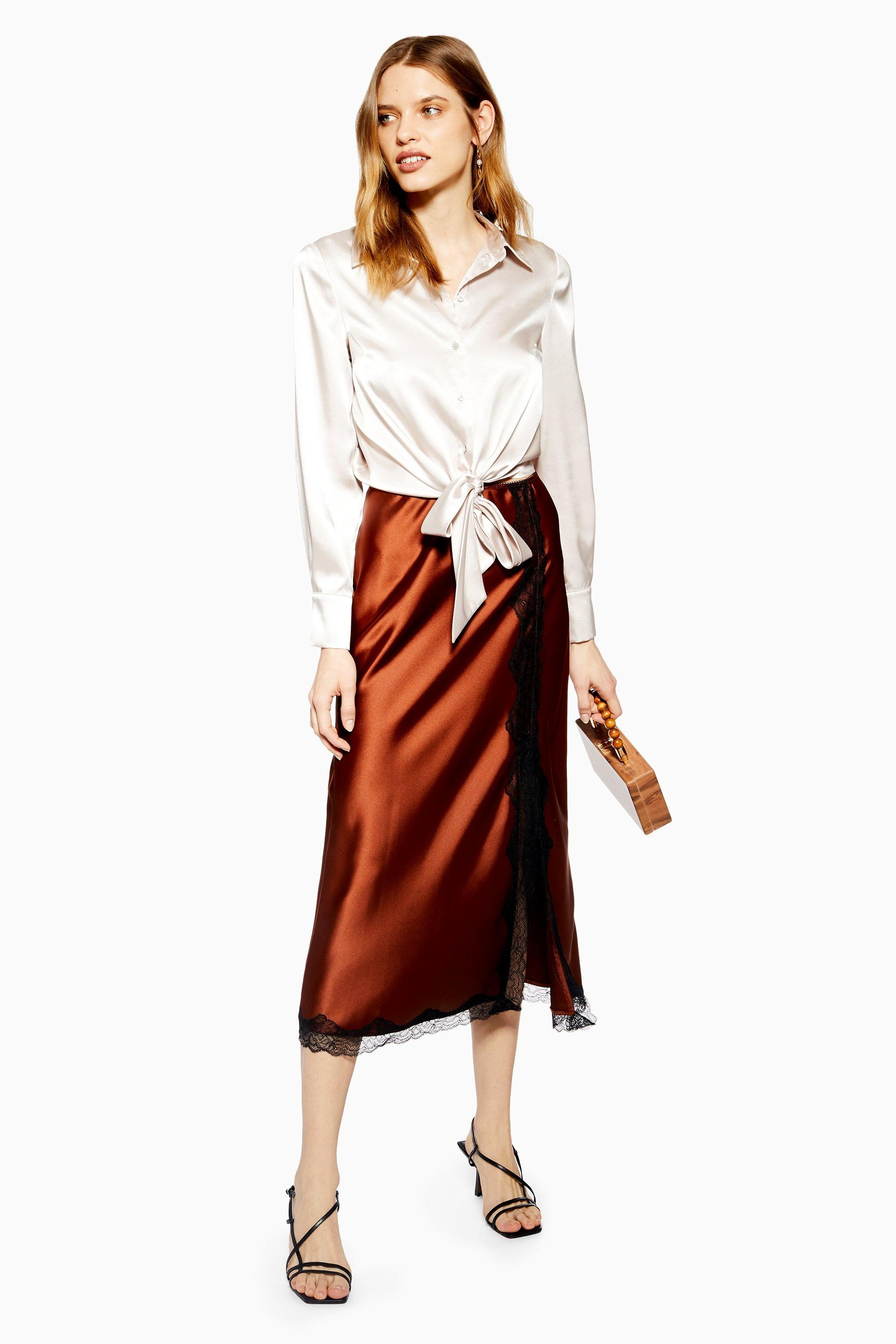 91d1e8118d Lyst - TOPSHOP Lace Trim Satin Bias Midi Skirt in Brown