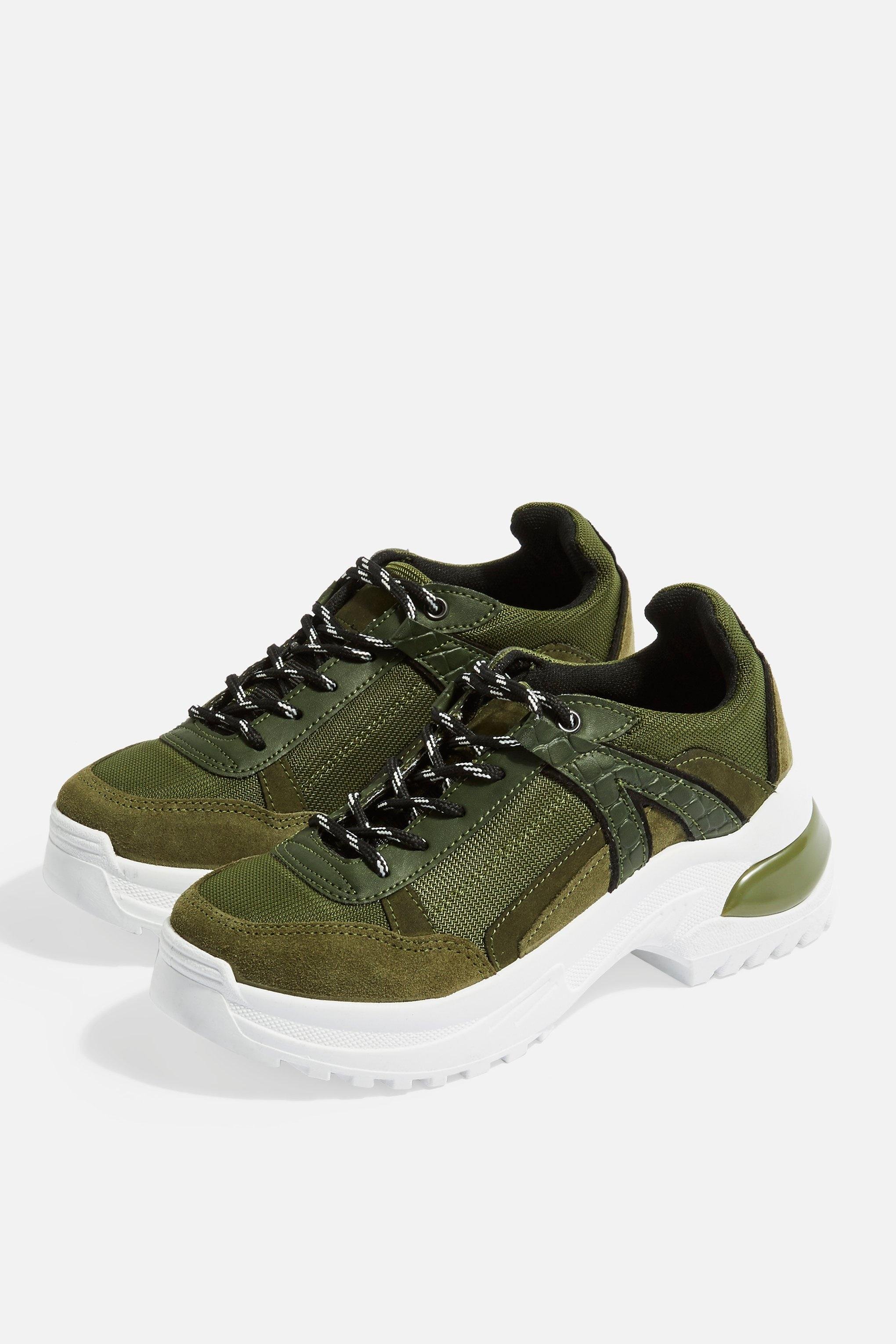 4cf4c195f3d Lyst - TOPSHOP Chicago Chunky Trainers in Green