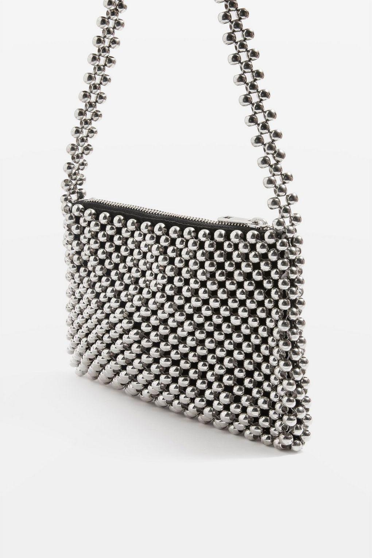 adb9bd8ef01b Lyst - TOPSHOP Metallic Beaded Shoulder Bag in Metallic