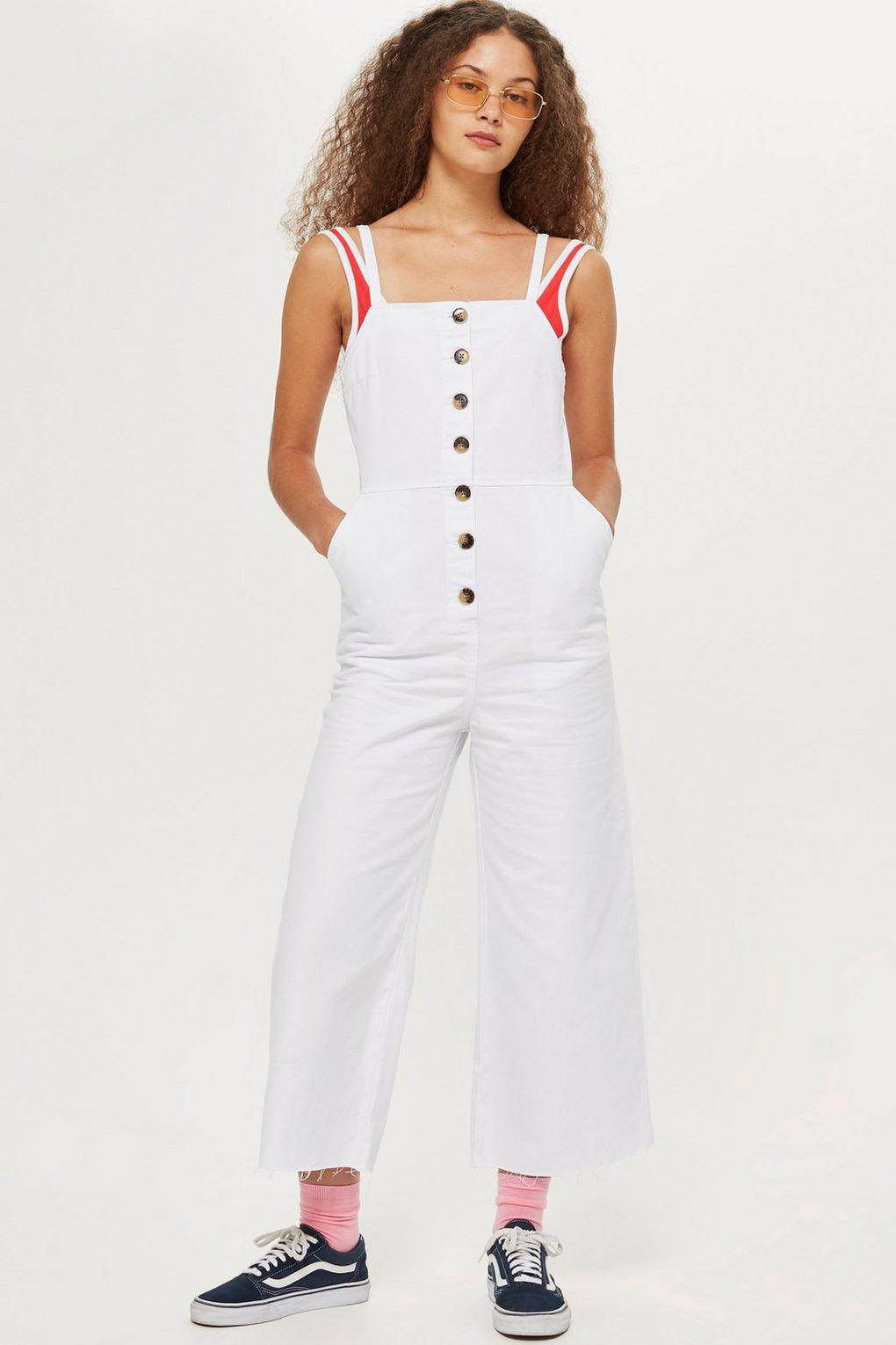 dc0ebed9184b TOPSHOP Horn Button Denim All In One in White - Lyst
