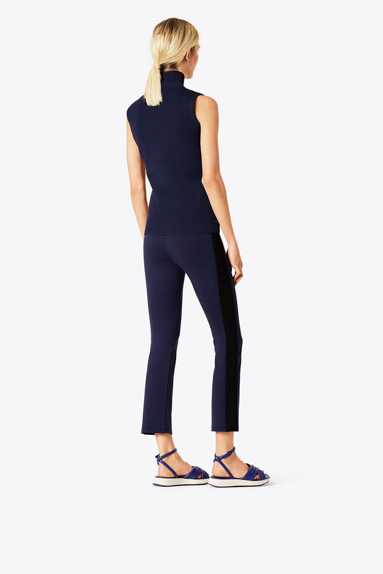 f98d934d7447 Lyst - Tory Sport Tory Burch Side-striped Tech Ponte Cropped Flare ...