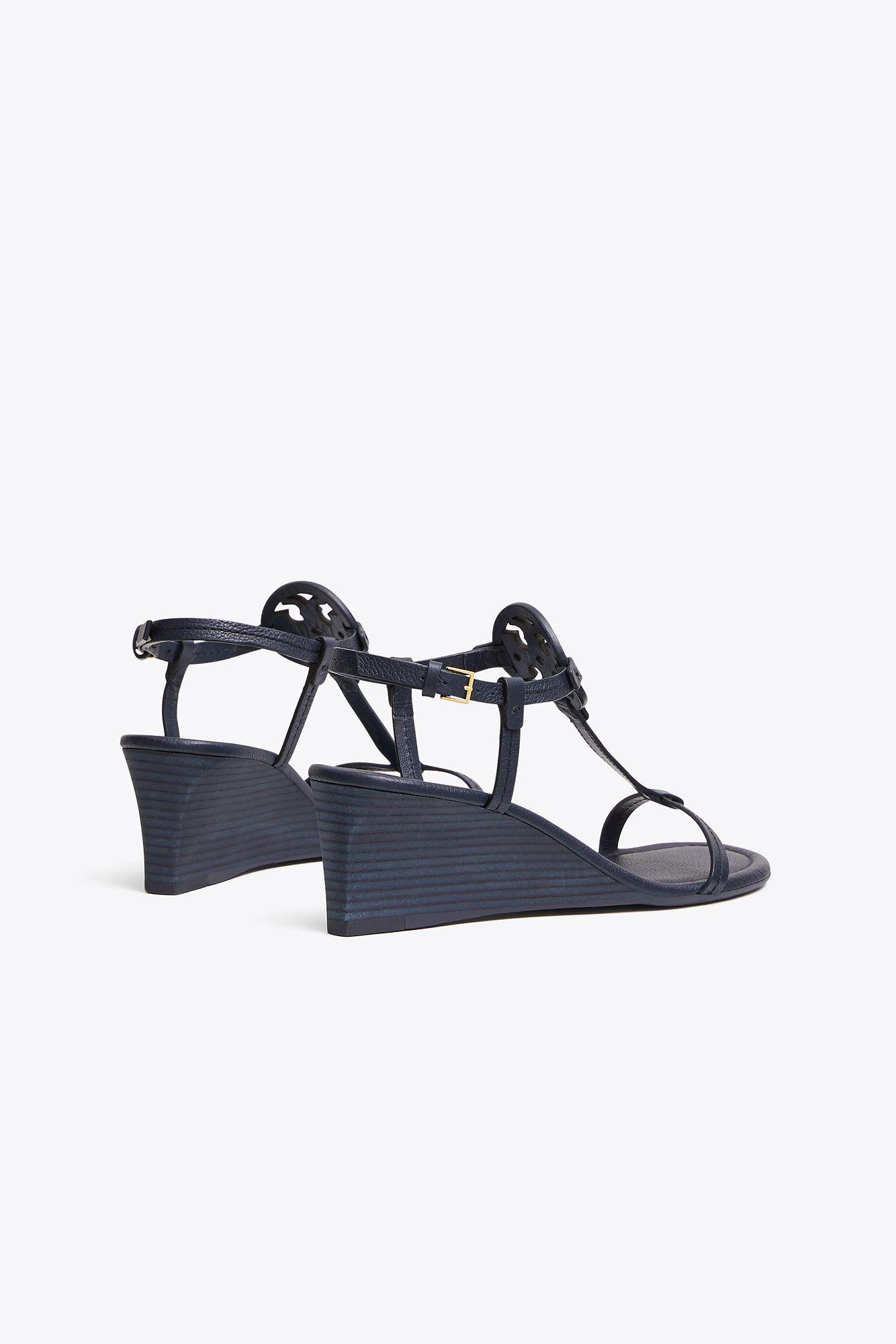 ba02a7773 Tory Burch Miller Sandal Wedges, Tumbled Leather in Blue - Lyst