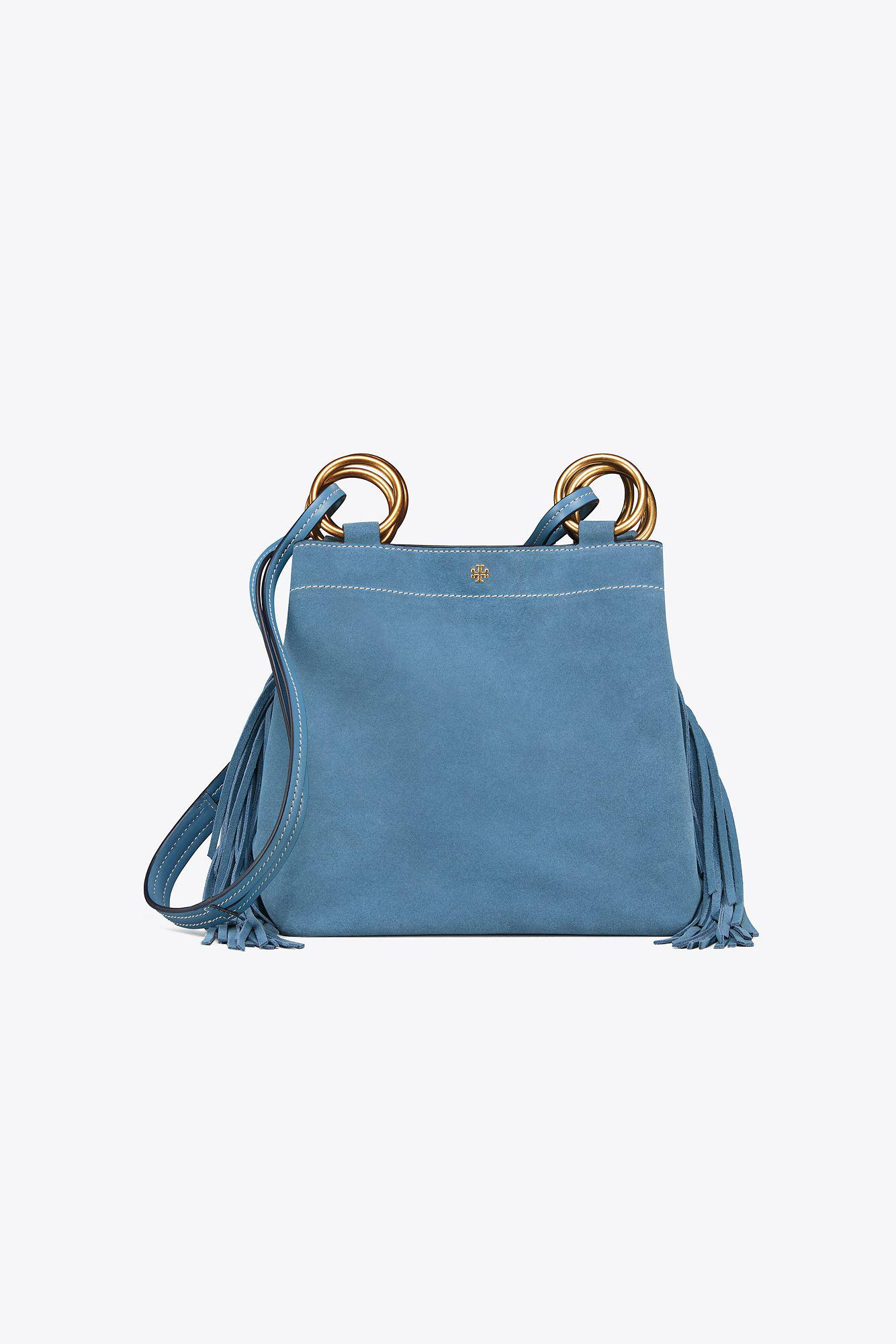 991f7404c265 Tory Burch Farrah Fringe Small Tote in Blue - Save 42.61904761904762 ...